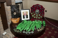 The new SACC Creative trophy on the left along with all the medals on offer.  In the middle, photo of the late Larry Stewart to whom the new trophy (on the right) is in honour of - donated by his club, Shannon Camera Club