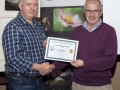 SACC Chairman Richie Dwyer presenting Ned Mahon (Kilkenny) with his certificate