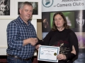 SACC chairman Richie Dwyer presenting Maria Martin (Carlow) with her certificate