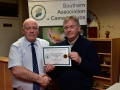 Jim Mc Sweeney (Mallow) receiving their Certificate from Richard Dwyer