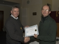 SACC Chairman Richie Dwyer presenting Christopher Bourke with his certificate