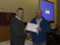 SACC Chairman Richie Dwyer presenting Dave Linehan with his Certificate