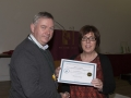 SACC Chairman Richie Dwyer presenting Micheline Murphy with her certificate