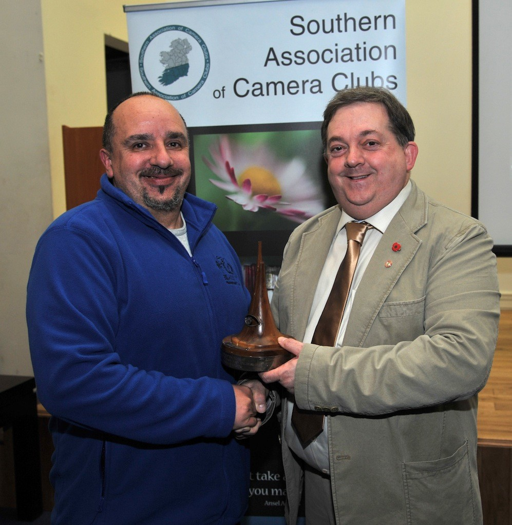 SACC Chairman Bill Power pictured presenting Seamus Scullane Memorial Trophy for best overall image to Paul Reidy