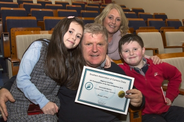 Morgan O'Neill pictured with his wife Siobhan, daughter Kailan and son Morgan junior