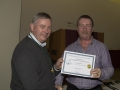 SACC Chairman Richie Dwyer presenting Andy Magan with his certificate